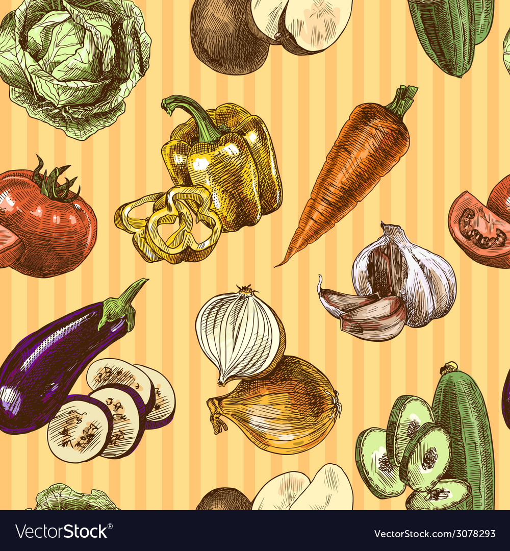 Vegetables sketch color seamless pattern vector