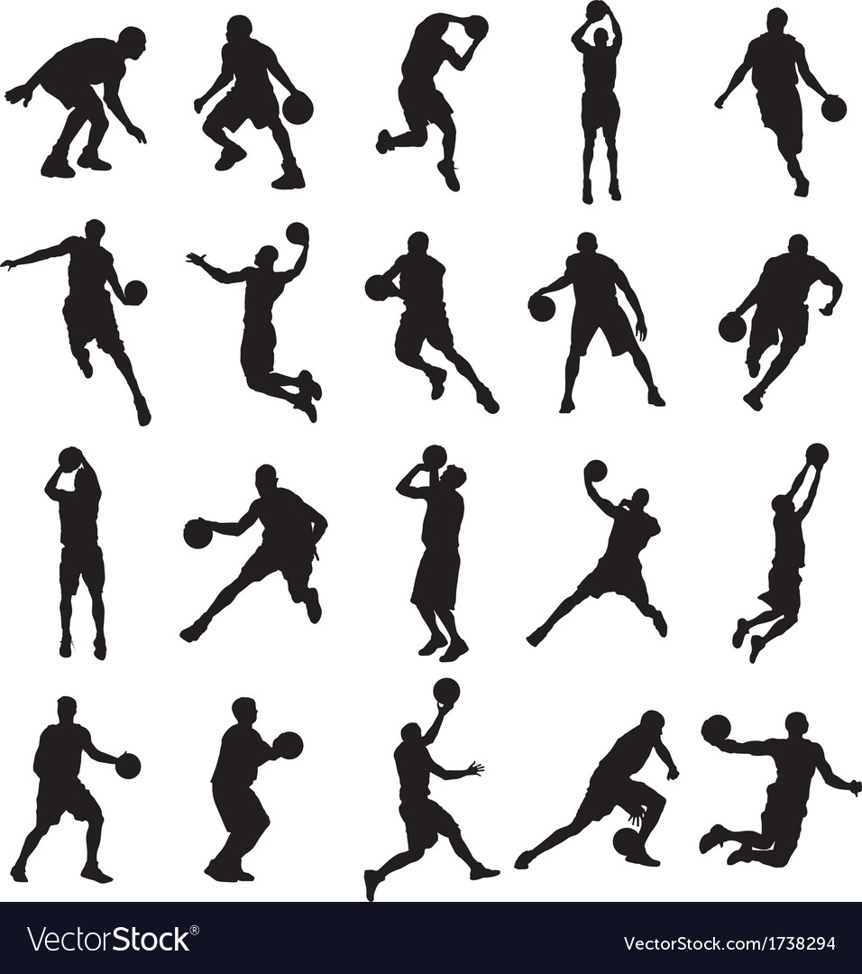 25 basketball black silhouette vector