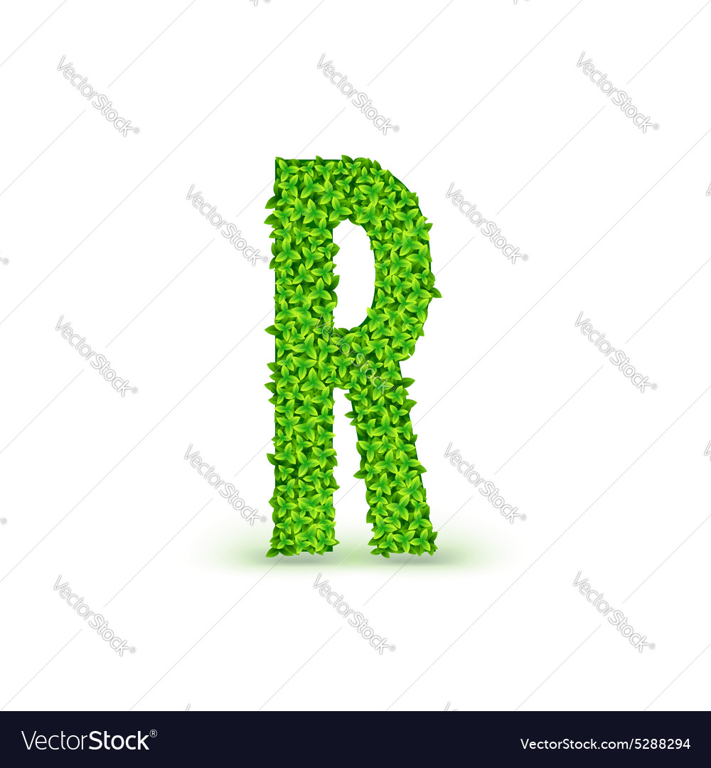 Green leaves font r vector