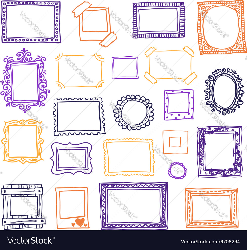 Hand drawn photoframes doodle vector