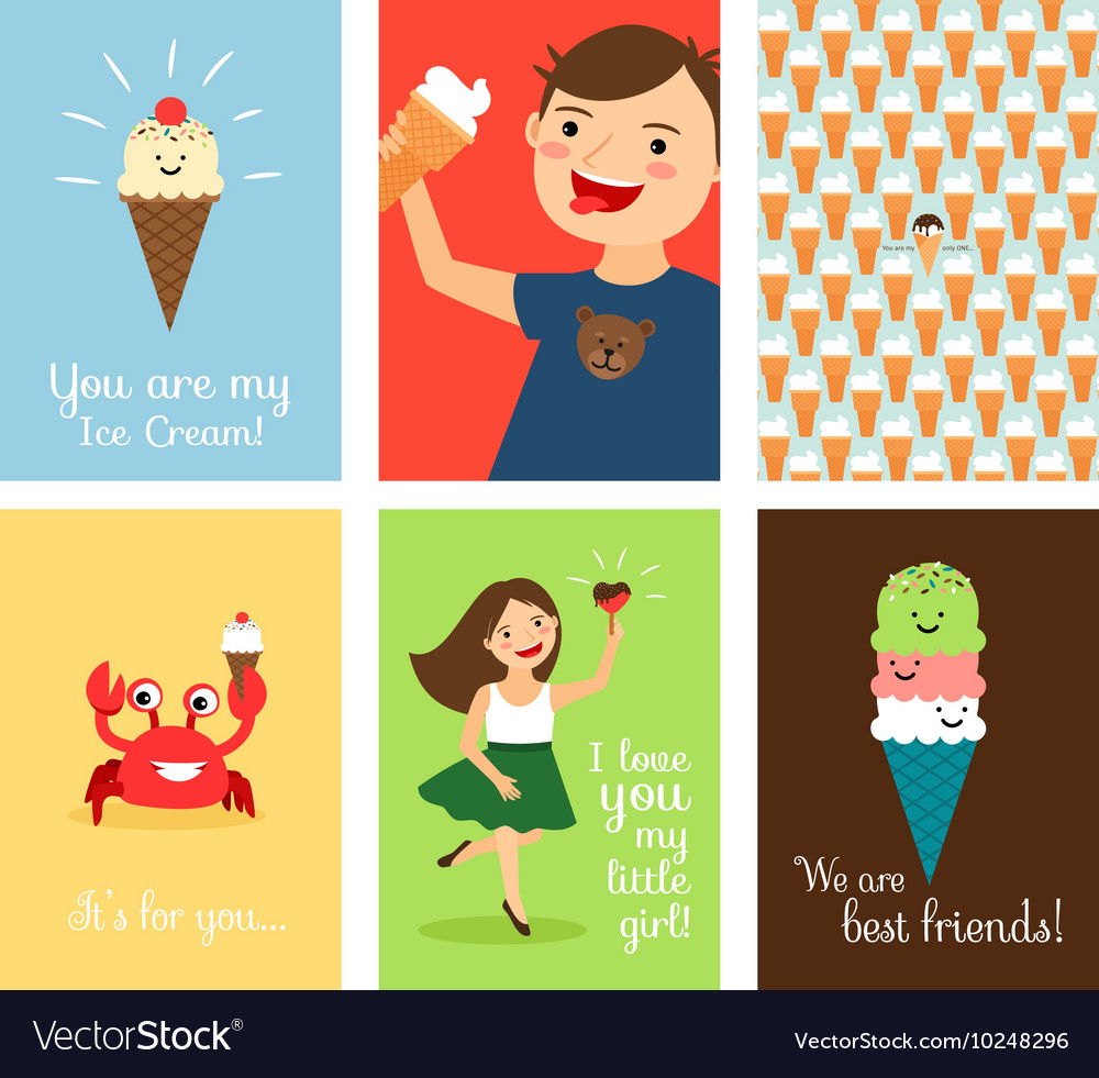 Happy kids with ice cream vector