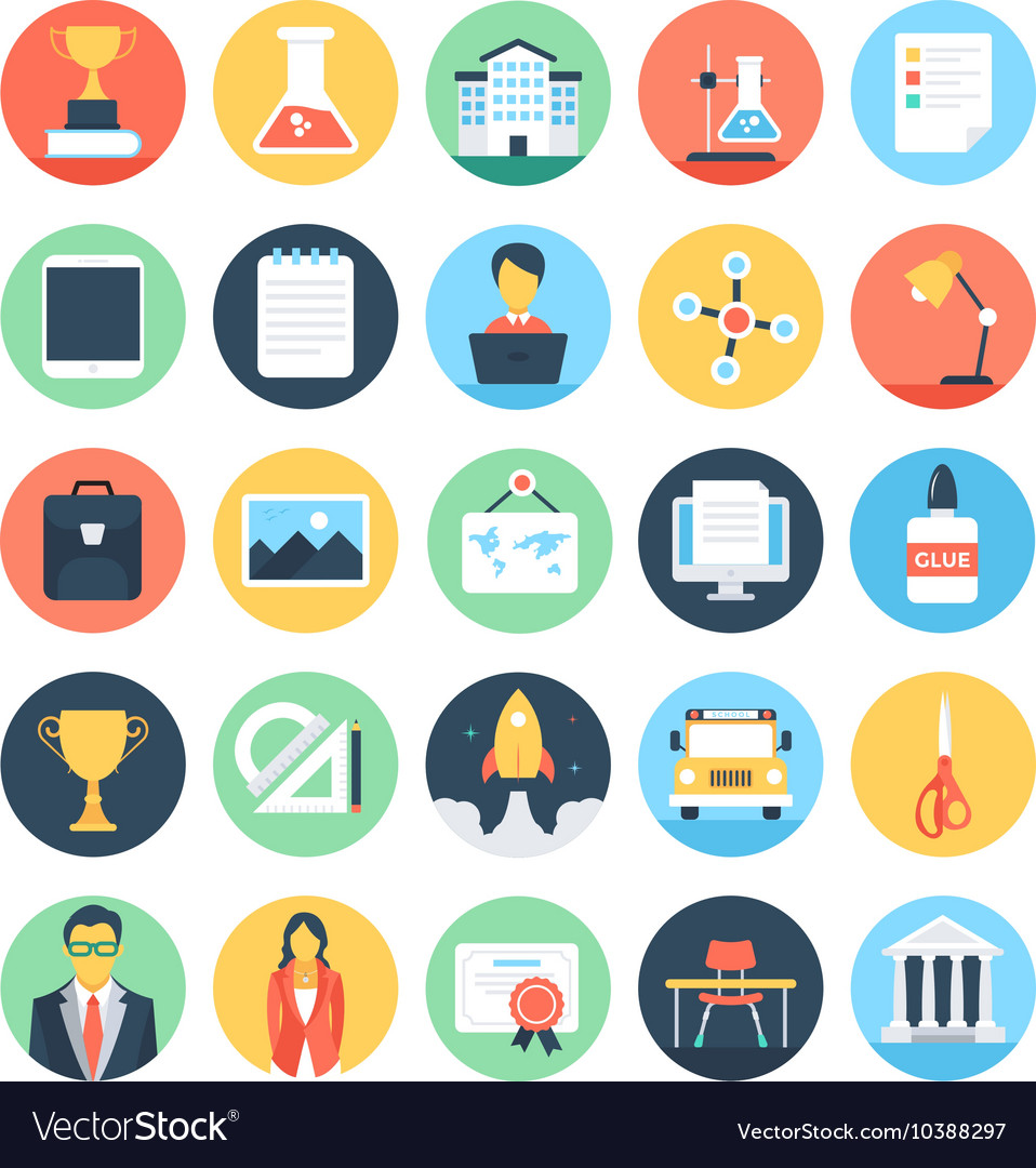 Modern education and knowledge colored icon 3 vector