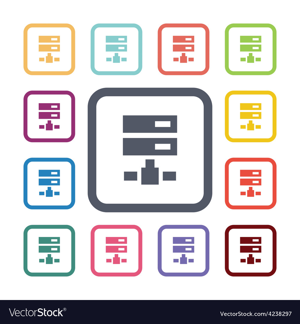 Net drive flat icons set vector