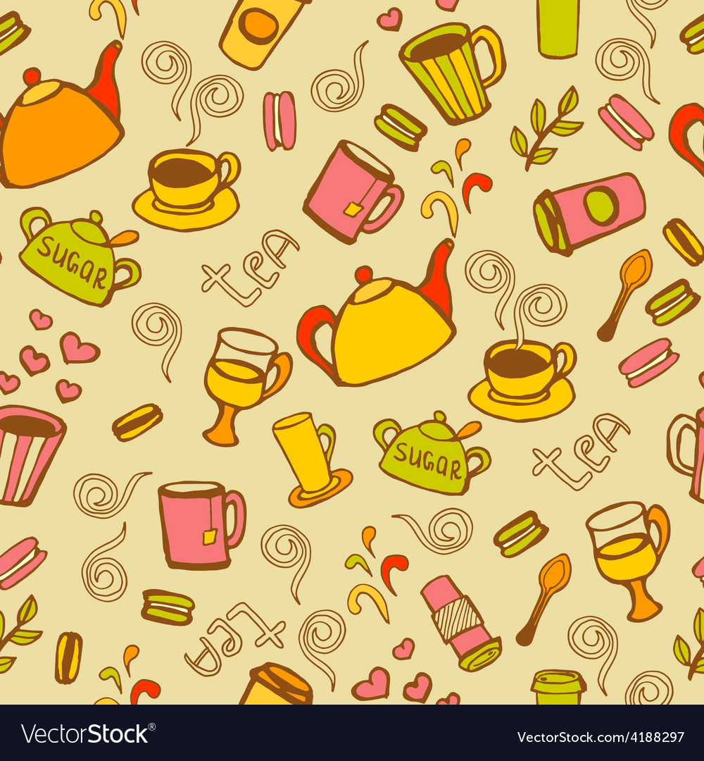 Tea and coffee seamless background vector