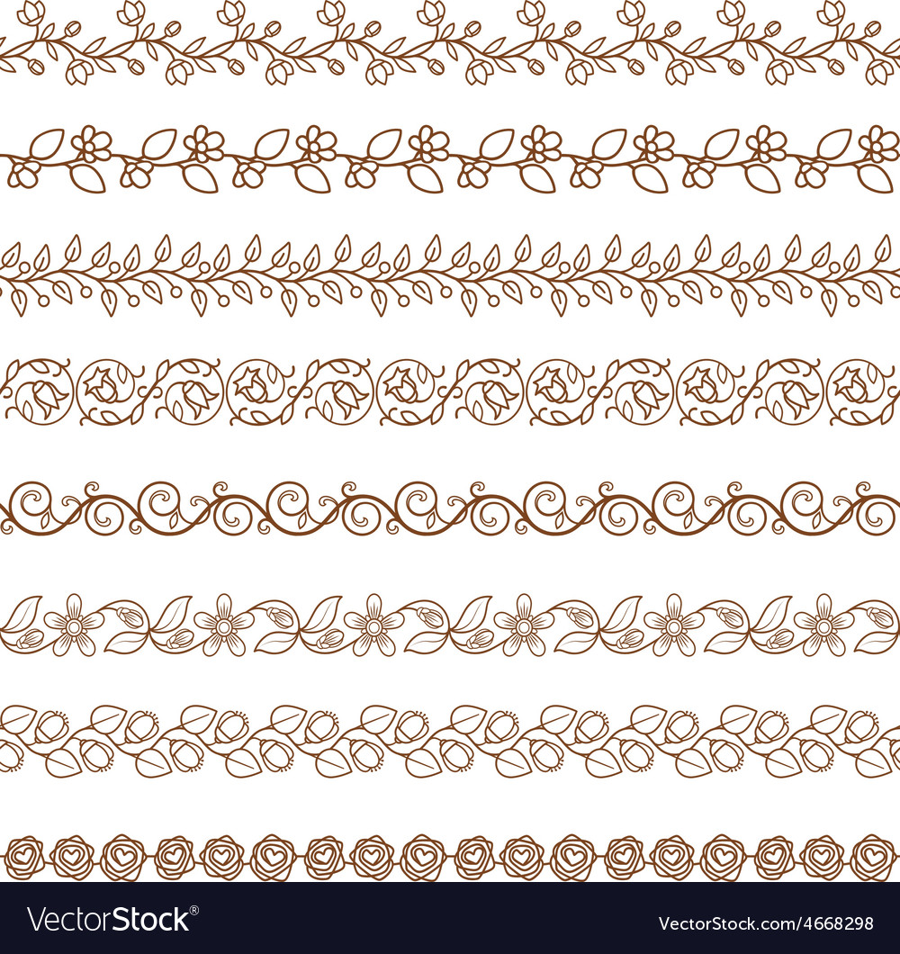 Floral border brushes vector