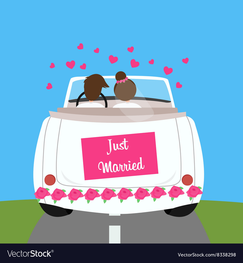 Just married wedding car couple honeymoon marriage vector