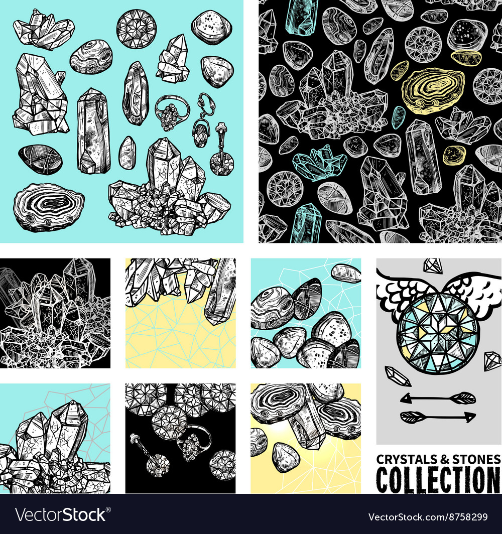 Crystals and stones hand drawn set vector