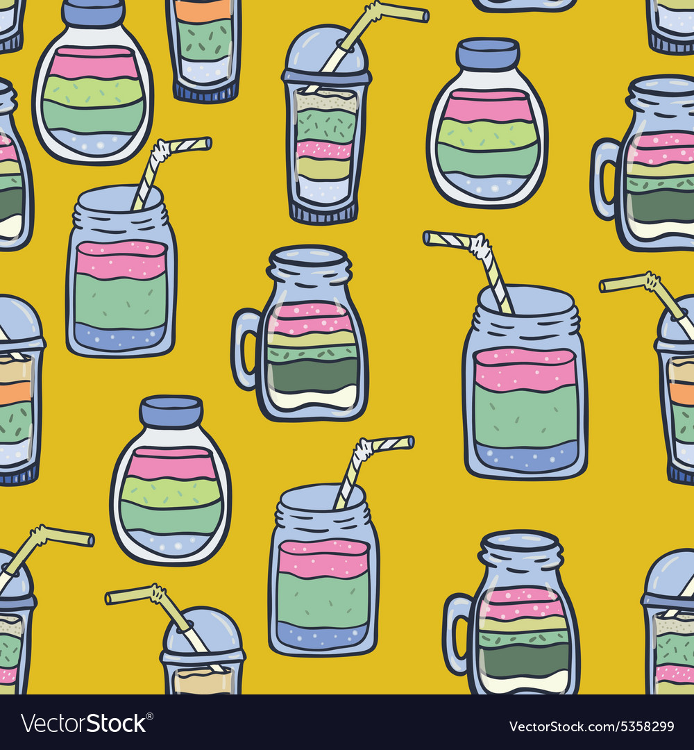 Hand drawn smoothie seamless pattern vector