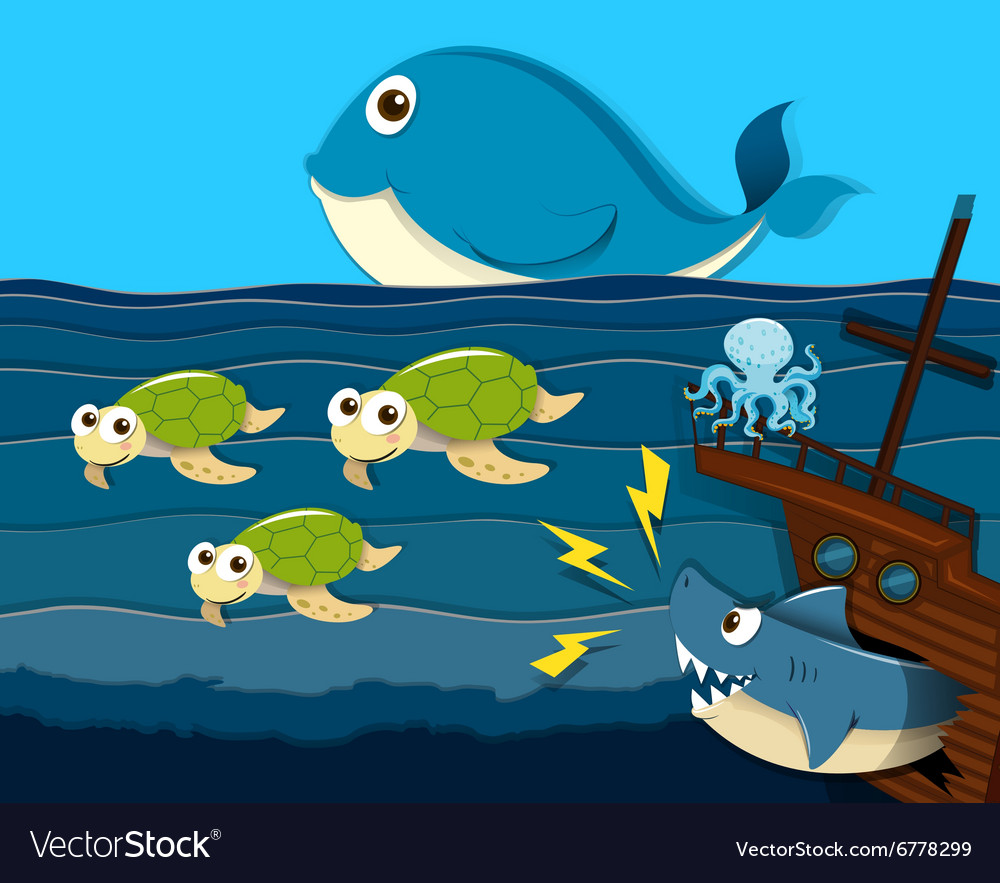 Shark attack ship under the sea vector