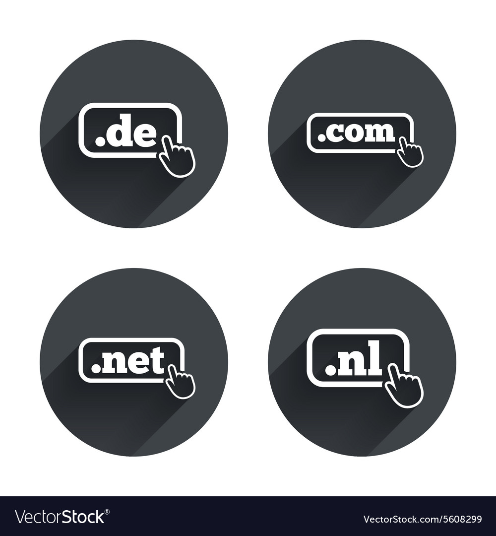 Toplevel domains signs de com net and nl vector