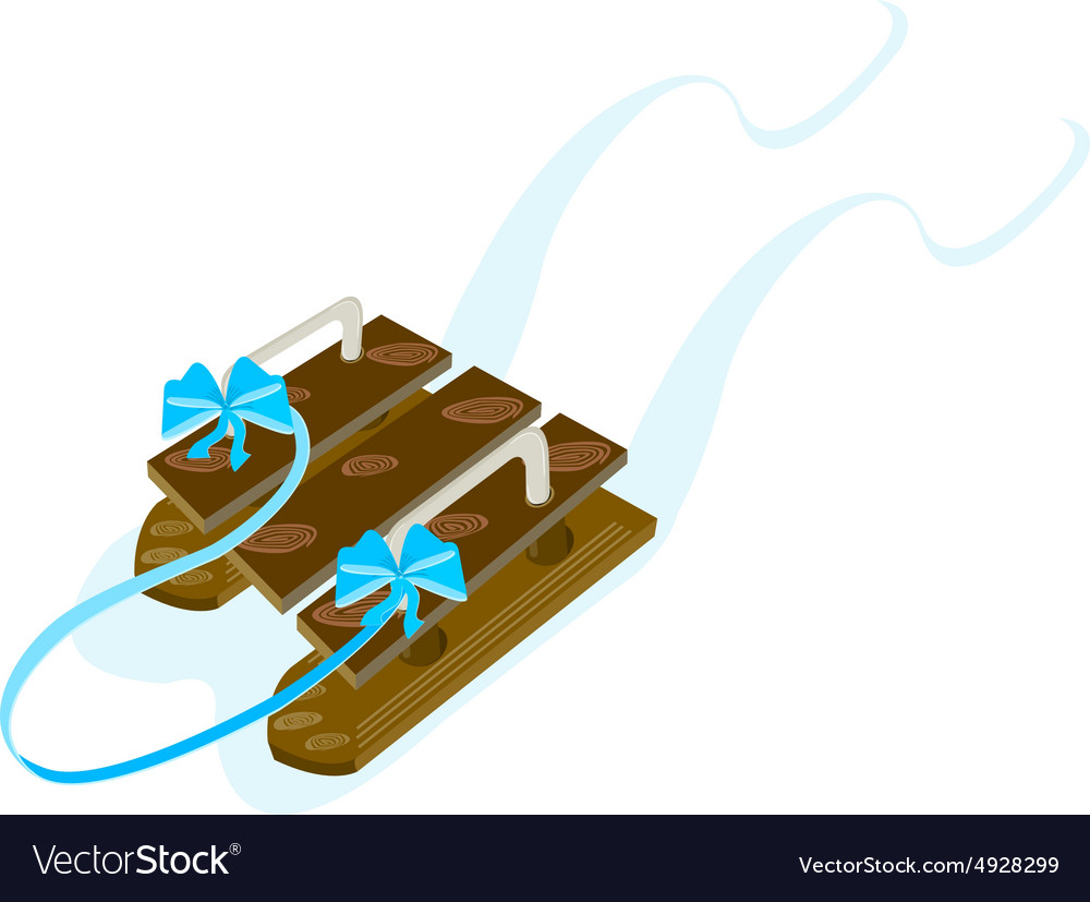 Wooden sled vector