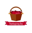 apple basket on Thanksgiving Day  flat vector image vector image