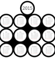 2015 black circles calendar for office vector image vector image