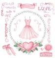Watercolor bridal shower setPink dressroses vector image