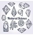 Set of hand drawn crystal gems -natural science vector image