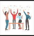 young people having fun and startuping confetti vector image