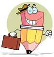Pencil Businessman Carrying A Briefcase vector image vector image