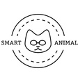 minimal vintage labels with the smart cat in vector image