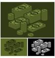 Piles of money set vector image vector image