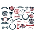 Darts sport game design elements and items vector image vector image