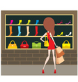 woman at a shop front vector image vector image