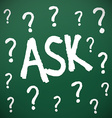 Chalkboard with question marks vector image