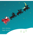 Christmas card with flying Sledge with Santa Claus vector image