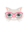 cute white cat wearing pink glasses funny cartoon vector image