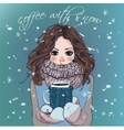 cute winter girl with coffee cup vector image