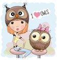 Girl and owl vector image
