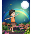 A happy young girl playing near the flowers vector image vector image