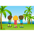 Three kids watching the river vector image