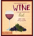 Wine list retro poster vector image