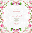 wedding card with flowers for your design romantic vector image