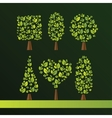 Set of trees of various shapes Oval cube sphere vector image