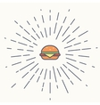 Burger vintage label in hipster style with vector image
