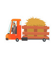 cartoon truckload of hay farmer truck vector image
