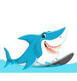 cute shark surfing cartoon vector image