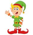 Happy green elf waving vector image