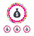 money bag icons dollar euro pound and yen vector image