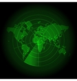 green world map with a radar screen vector image vector image