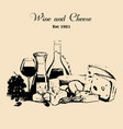 hand draw vintage set of cheese and wine vector image