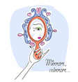 woman looking in the mirror line art eps vector image