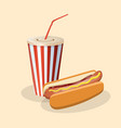 hot dog with soda in a paper cup vector image