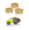 Package delivery includes truck and boxes in diffe vector image