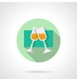 Round flat icon for pair champagne glasses vector image