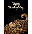 Happy Thanksgiving Cornucopia or Horn of plenty vector image