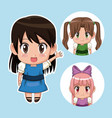 Blue color set cute anime tennagers girl in dress vector image