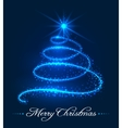 Christmas tree background with stars trail vector image