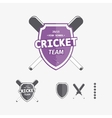 Cricket labels and icons set vector image